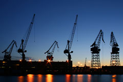Helsinki shipyard at night